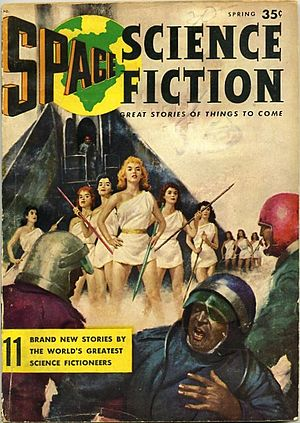 "Space Science Fiction Magazine - The Spring 1957 issue of Space Science Fiction Magazine; the first of the two issues that appeared. The cover illustrates Milton Lesser's ""The New World to Conquer"", in which spacemen come upon a planet of women who think of men as drones."