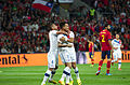 Spain - Chile - 10-09-2013 - Geneva - Eduardo Vargas celebrating with Mauricio Islas and another player.jpg