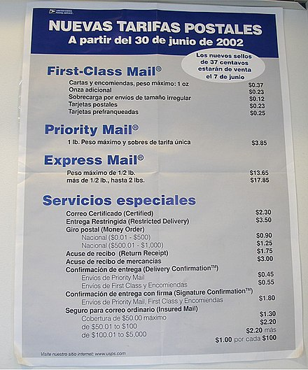 Federal agencies such as the United States Postal Service translate information into Spanish. Spanishuspsposter.jpg