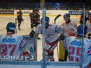 IK Oskarshamn - IK Oskarshamn (white uniforms) in a game against AIK.