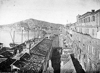 Split, Croatia - The Riva of Split in the 19th century, with Marjan hill in the background.