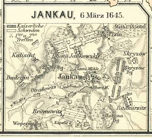 Battle of Jankau - Map of the battle.