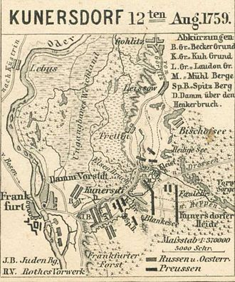 "Battle of Kunersdorf - The Allied troops were entrenched in the highest ground around Kundersdorf.  This map shows the ""high water"" mark the Prussians achieved that day.  It also shows, to the far right, the degree of broken ground that Frederick's troops had to cover in the dark as they made their way through the Reppen Forest. Map from the Spruner-Menke Hand Atlas, 1880."