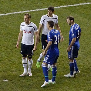 2015 Football League Cup Final - Tottenham defeated Chelsea 5–3 in the Premier League on 1 January 2015. Pictured are Tottenham's Harry Kane and Federico Fazio, with Chelsea's John Terry and Branislav Ivanović