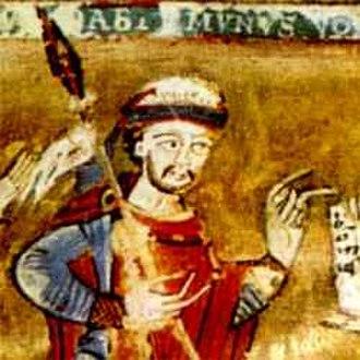 Spytihněv II, Duke of Bohemia - Duke Spytihněv with mitre and lance, contemporary depiction in the Svatovítská apokalypsa (Apocalypse of Saint Vitus) manuscript