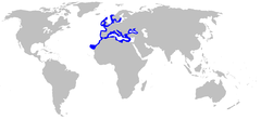 World map with blue outlines on the coastlines of southern Scandinavia, northern Europe, the British Isles, the Iberian Peninsula, the Mediterranean, and northwest Africa as far as the Canary Isles