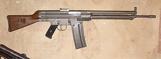 CETME rifle - CETME prototype. Note: position of rear sight and bi-pod folded back to form fore-stock.