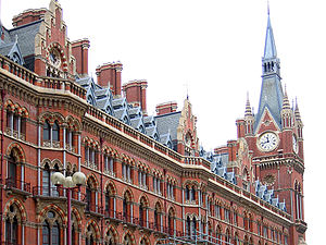 1873 in rail transport - A high point of Victorian architecture: G. G. Scott's Midland Grand Hotel fronting London St Pancras station