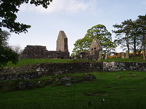 Saint Blane - St Blane's Church viewed from the wall surrounding the old and the new graveyards.