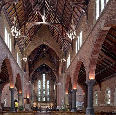 A view of the interior of St George's Cathedral, Perth, facing east towards the chancel.