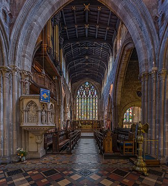 St Mary's Church, Shrewsbury - The stained glass behind the altar and choir