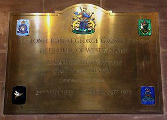 Robert Grosvenor, 5th Duke of Westminster - The 5th Duke of Westminster's memorial in Eccleston Church