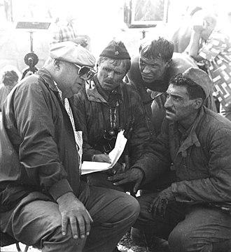 Yuri Ozerov (director) - From left to right: Ozerov, Oleg Uryumtsev, Fedor Bondarchuk and Tigran Keosayan in 1987, during the filming of Stalingrad.