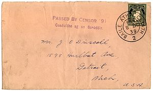 Censorship in the Republic of Ireland - Envelope from Dublin to USA showing a bilingual Irish censor handstamp used 8 September 1939, just six days after the enabling legislation was enacted