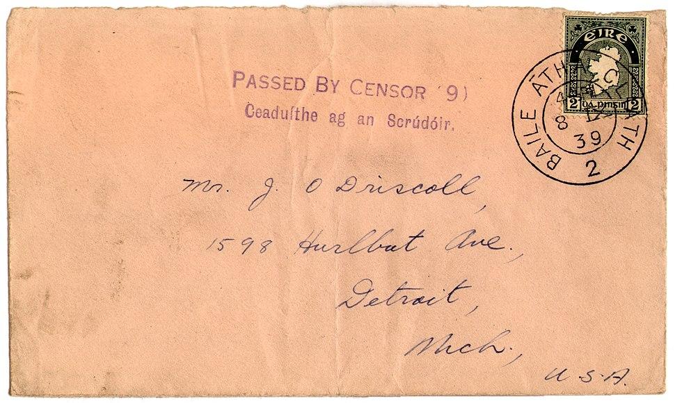 Stamp Irl-USA sept 39 censorHS