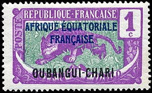 Postage stamp design - A 1924 French Colony stamp with no less than four country names.