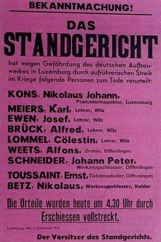 Luxembourg in World War II - Poster announcing the death sentences of 9 of the 21 Luxembourgers executed for their participation in the 1942 General Strike.