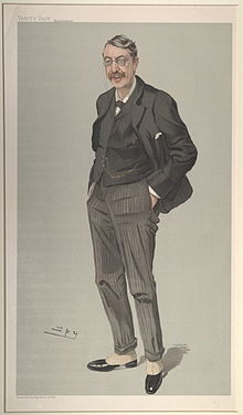 caricature of a tall, slightly stooped man, in Edwardian dress