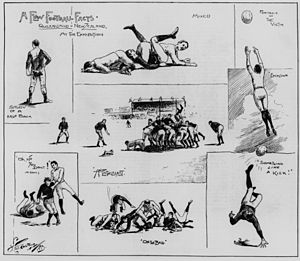 1893 New Zealand rugby union tour of Australia - A series of sketches published in The Queenslander of one of New Zealand's matches against Queensland.