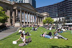 The State Library of Victoria forecourt.