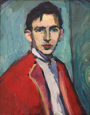 Hermann Stenner - Self-portrait in Red Jacket (1911)