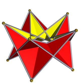 Pentagonal prism - The pentagonal stephanoid has pentagonal dihedral symmetry and has the same vertices as the uniform pentagonal prism.