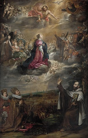 Battle of White Mountain - Painting celebrating the Catholic victory, by Antonín Stevens (about 1610-1675). In the upper part there is Our Lady of Victory surrounded by saints; in the lower left-hand corner there is the victorious Emperor Ferdinand II with his son Ferdinand III and the Bohemian lion.