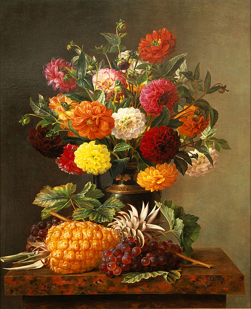 Still Life of Dahlias with Pineapple and Grapes by Johan Laurentz Jensen