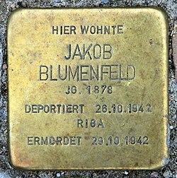 Photo of Jakob Blumenfeld brass plaque
