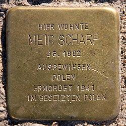 Photo of Meir Scharf brass plaque