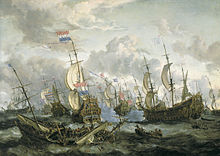 English and Dutch sailing ships clash on a stormy sea; a wreck of a sinking vessel can be seen in the foreground, whilst the sky is full busy white clouds.