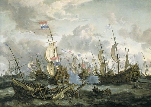 The Royal Prince and other vessels at the Four Days Fight, 11-14 June 1666 (Abraham Storck) depicts a battle of the Second Anglo-Dutch War. In the foreground the Swiftsure with Berkeley sinks. On the right the grounded Prince Royal with admiral Ayscue surrenders by firing white smoke; de Ruyter on the Zeven Provincien accepts. In between the Royal Charles can just be seen with a broken mast. The stern piece of the Zeven Provincien shows the old arms of the United Provinces. Storck, Four Days Battle.jpg