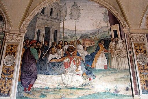 Storie di s. Benedetto, 34 sCome Benedetto fa portare il corpo di Cristo sopra al capo del monaco che la terra non voleva ricevere