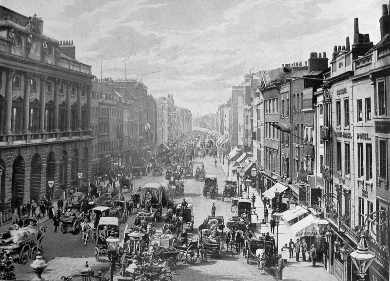 Calle Strand a fines del siglo XIX y Somerset House a su izquierda