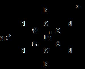 Potassium ferricyanide - Image: Structure of potassium ferricyanide