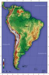 Topographische KarteSüdamerika
