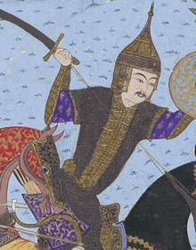 Illustration of Sukhra shown holding a sword in his right hand and a shield in his left