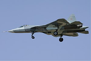 Sukhoi Su-57 - Sukhoi T-50 in flight with landing gear deployed, 2010