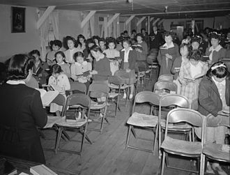 Sunday school - Sunday school, Manzanar War Relocation Center, 1943. Photographed by Ansel Adams.