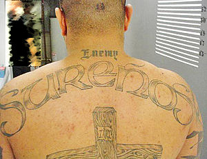 English: Sureños gang member's tattoos.