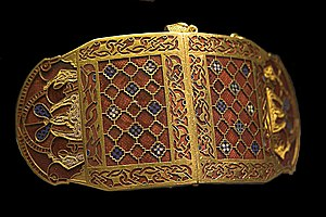 Insular art - Early Anglo-Saxon shoulder-clasps from Sutton Hoo, early 7th century. Gold, garnet, and millefiori glass.