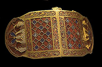 Anglo-Saxon glass - Sutton Hoo shoulder-clasps with inlays of garnets and glass chequer millefiori.