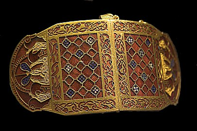 Shoulder clasps with interlaced schematic animals, Sutton Hoo ship burial, early 7th century