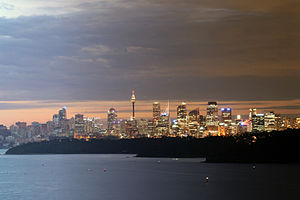 Sydney cityscape at dusk, viewed from the North Head lookout