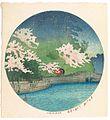 Tōkyō jūnikagetsu, Shibakōen no harusame by Kawase Hasui.jpg