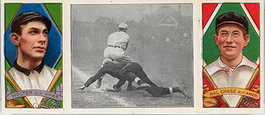 T202 baseball card - T202 card: H. Chase. H. Wolter - Scrambling Back to First.