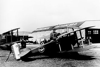Billy Mitchell - Billy Mitchell posing with his Thomas-Morse MB-3