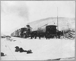 Trains of the Tanana Valley Railroad at the station in Fox, Alaska in 1916.