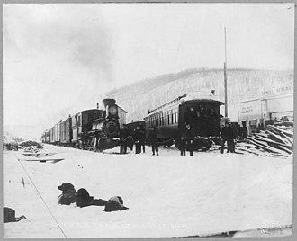 Fox, Alaska - Trains of the Tanana Valley Railroad at the station in Fox, Alaska, in 1916