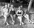 Tableau, bathing suit, summer, bathing caps, men, women, beach, changing cabin Fortepan 1542.jpg